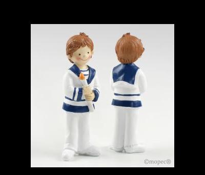 Figura pastel niño Comunión cirio 16cm min 2 AY137