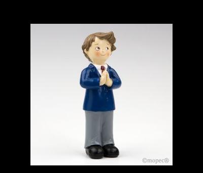 Figura pastel niño Comunión corbata granate 16cm min 2 AY163