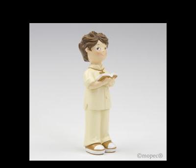 Figura pastel niño Comunión traje beige 16cm.  AY175