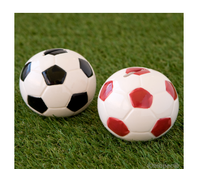 Hucha pelota 8cm. roja y negra stdo.,  AY208