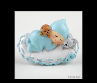 Imán con anilla Bebé niño sobre almohada, mín.12 - AZ1770.3