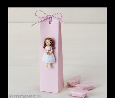 Imán niña Comunión vestido corto con 3 caramelos AZD0917