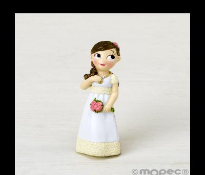 Imán resina Comunión niña romántica. 6cm. min.12 AZ9690
