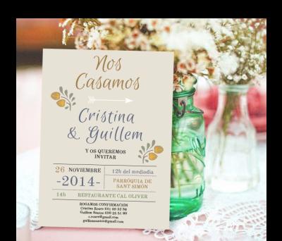 Invitaciones de boda Dos flores tierra A-Invitaciones-Dos-flores-tierra