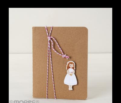 Libreta pequeña adornada figura niña Comunión vestido corto AAA0917
