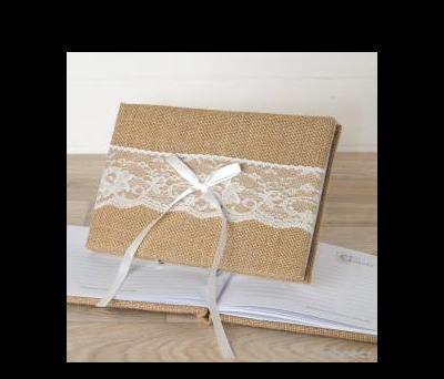 Libro firmas yute y puntilla 25x16cm.(74pag)en caja regalo AG0107