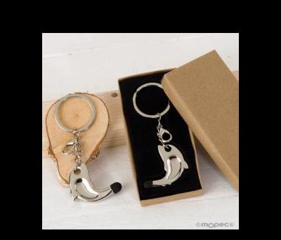 Llavero/colgante delfín puntero táctil caja regalo 3x9,5cm. AM369