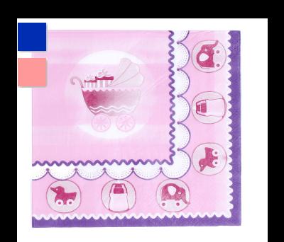 LOTE 20 SERVILLETAS BABY AZUL O ROSA - A9252-Rosa