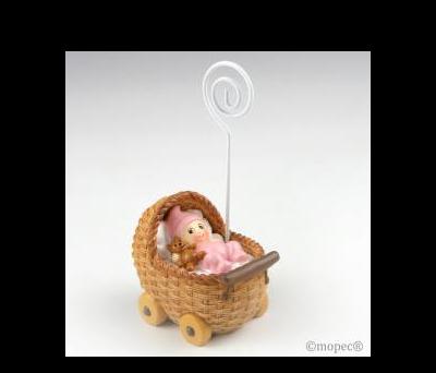 Portafoto bebé en cochecito rosa,10cm. mín.6 - AZ781.2