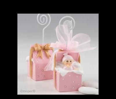 Portafoto bebé regalo rosa con 3 peladillas choco. - AZP343.02