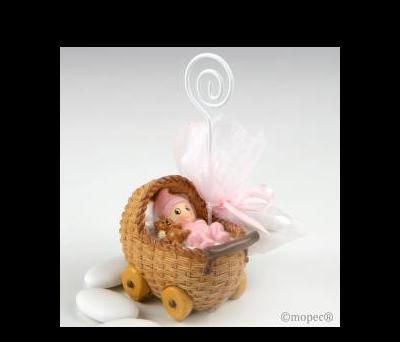 Portafoto cochecito bebé rosa con 3 peladillas choco. - AZP781.2