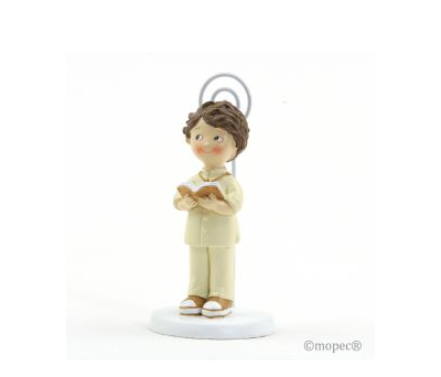 Portafoto niño traje beige Comunión 10,5cm.,  AZ175