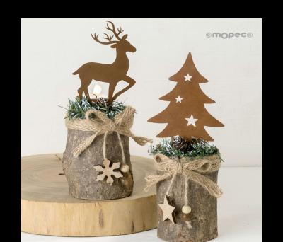 Portavela tronco natural. ciervo y árbol con vela.22cm.min.2 ANW5181