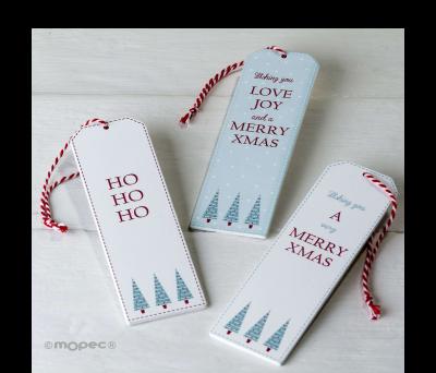Punto de libro/colgante navideño de madera 3.8x12cm. 3stdo ANW11