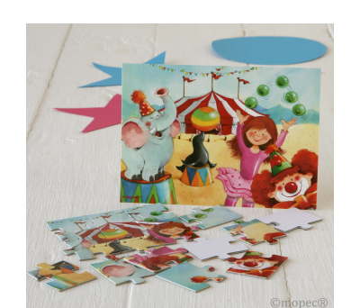 Puzle 15 piezas+postal Circo 14x10,5cm AX6081