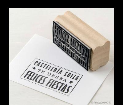 Sello rect. personalizado...Te desea Felices Fiestas 5.5x3cm ANW850