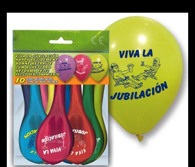 SET 10 GLOBOS _c2_VIVA LA JUBILACI_O_N_c2_  para regalar A7056