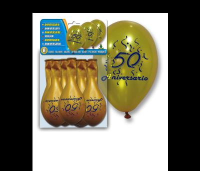 SET 8 GLOBOS ORO _c2_50 ANIVERSARIO_c2_ para regalar A7058
