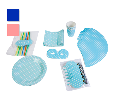 SET PARTY BABY SHOWER (7 ARTÍCULOS DIFERENTES X 6 UNIDS.) - A7072-azul