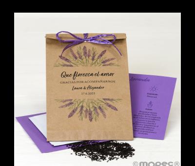 Sobre adornado semillas lavanda Que florezca..11x19cm min.25 - AEA4230.1