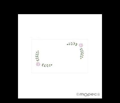 Tarjeta 1a.Comunión flores rosas 1hoja=30. AX927