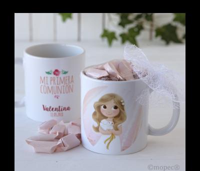 Taza cerámica niña Comunión en caja regalo con 7 caramelos - AGD670.2