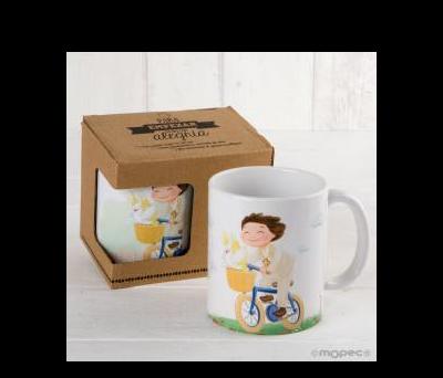 Taza cerámica niño Comunión en bici con caja regalo - AG912.3.1