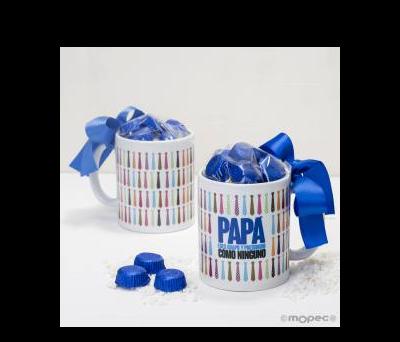 Taza cerámica Papá corbatas en caja regalo 6 bombones - AGB400.3.1