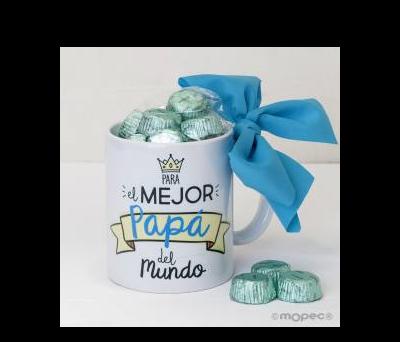 Taza cerámica Para el Mejor Papá en caja regalo 6 bombones - AGB300.3.1