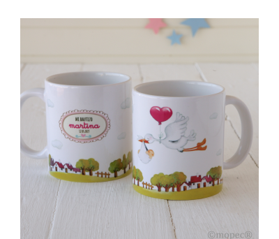 Taza cerámica Pit & Pita cigueña niña en caja regalo - AG503.2