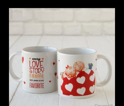 Taza cerámica Pit & Pita Love Story en caja regalo AG5430